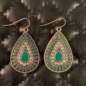 Free People Silver Tribal Crystal Drop Earrings